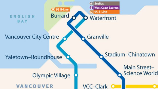SkyTrain Network Small Scale Downtown