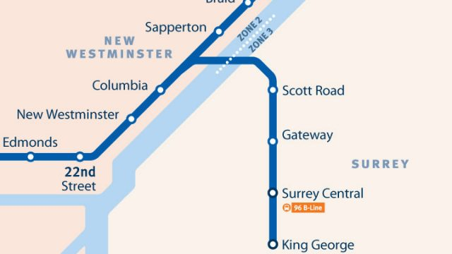 SkyTrain Network Small Scale NW Surrey