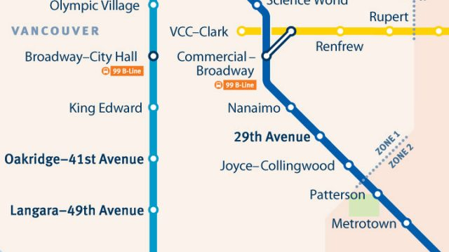 SkyTrain Network Small Scale Vancouver East